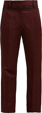 Haider Ackermann Embroidered Linen Blend-sateen Trousers - Womens - Brown