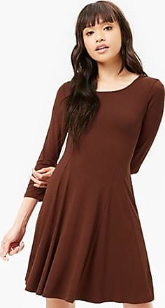 Forever 21 Forever 21 Lace-Up Swing Dress Brown