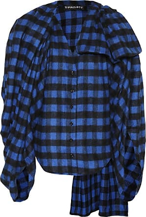 Y / Project Wool-blend checked flannel top