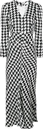 Rixo Vestido longo com padronagem pied de poule - Branco