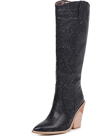Vimisaoi Knee High Boots for Women, Chunky High Heel Wedge Cowgirl Cowboy Western Boots