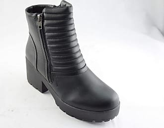 Truffle Tbw 60 Black Ankle Boots Faux Leather Pu Heels Platform Ladies Vegan[Ladies UK 6 / EU 39]