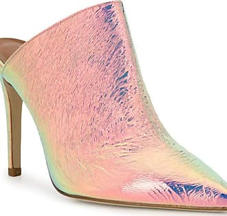 PARIS TEXAS Womens high Heels Pointy Mules Shoes Light Pink Laminated Leather - Model Number: PX146 Iridescent Silve - Size: 4.5 UK