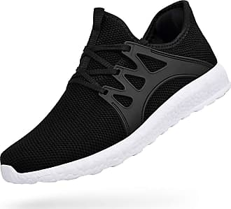 Zocavia Men Women Trainers Lightweight Running Sports Shoes Outdoor Non Slip Walking Gym Fitness Athletic Shoes Black White