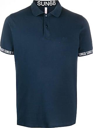 Sun 68 Poloshirt mit bedruckten Bündchen - Blau