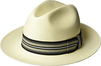21d12c0ff3497 Bailey of Hollywood Mens Creel Straw Fedora Trilby Hat with Striped Band  Natural Black Taupe