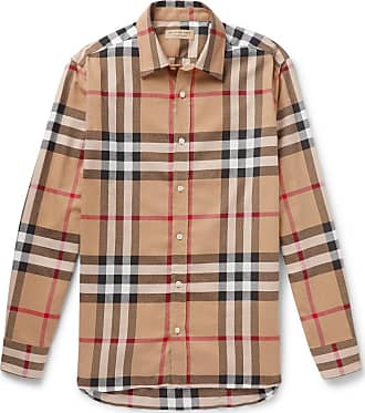 f2a012d174a7 Burberry Checked Cotton-flannel Shirt - Camel