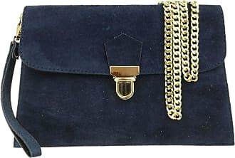Girly HandBags Girly HandBags Double Front Genuine Suede Clutch Bag - Navy