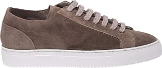 Doucal's Taupe Suede Sneakers with Terrycloth Laces, 40.5