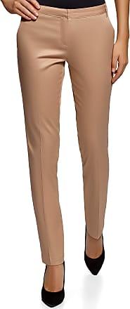 oodji Womens Basic Summer Trousers, Beige, UK 10 / EU 40 / M