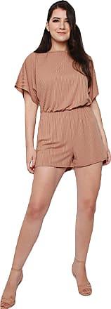 Momo & Ayat Fashions Ladies Ribbed Batwing Sleeve Playsuit UK Size 8-14 (Camel, UK 10 (EUR 38))