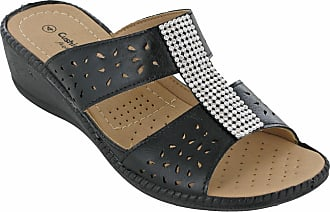 Cushion-Walk Slip On Sandals Open Toe Lightweight Womens Annie UK 3-8 (UK 3 / EU 36, Black)