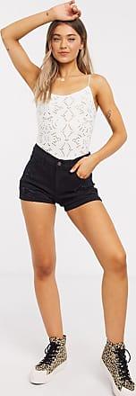 Hollister distressed denim shorts in black