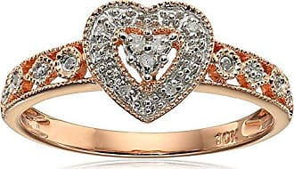 Amazon Collection 10k Rose Gold Heart Vintage Diamond Accent Ring, Size 9