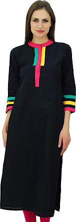 Women/'s Dress Yellow Cotton Kurta Straight Plain With Pocket Casual Wear Ladies