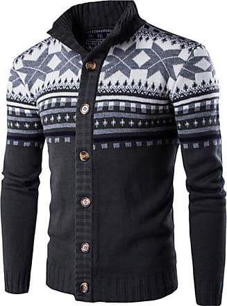 Jeansian Mens Snowflake X-Mas Cardigan Long Sleeve Button Down Knit Sweater Winterwear Jumper 88G4 Darkgray XS