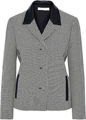 Philosophy di Lorenzo Serafini Philosophy Di Lorenzo Serafini Woman Faux Leather-trimmed Houndstooth Wool Jacket Gray Size 40