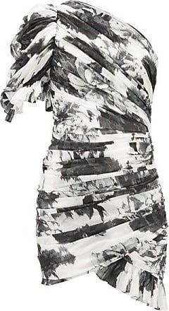 Alexandre Vauthier Puff-shoulder Asymmetric Floral-print Mini Dress - Womens - White Black