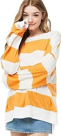 Forever 21 Forever 21 Striped Long Sleeve Top Orange/ivory