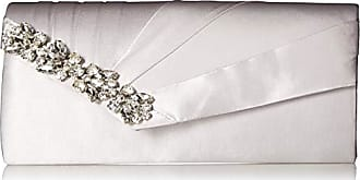 Jessica McClintock Sage Pleated Evening Clutch with Rhinestone Detail, Silver
