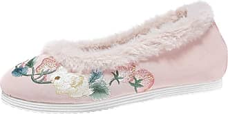 ICEGREY Womens Chinese Embroidered Shoes Flats Shoes Warm Loafer Pink 7.5