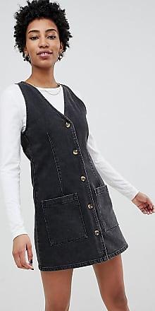 Asos Tall ASOS DESIGN Tall - Vestitino scamiciato in jeans con scollo a V e bottoni-Nero
