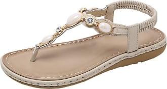 Zhuhaixmy Meijunter Womens Summer Flat Sandals Bohemian Rhinestone Elastic Ankle Strap Outdoor Flip Flops Slingback Shoes Beige