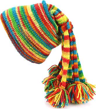 Loud Elephant Wool Knit Fountain Tassels Hat - Rainbow SD