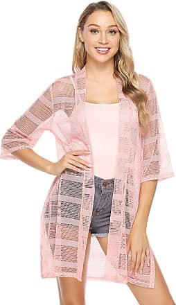 Abollria Womens Bikini Cover up Thin Light Weight Sheer Long Cardigan Kimono Blouse Pink