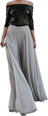 iShine Women Casual Maxi Skirts Solid Color High Waist Pleated Chiffon Long Maxi Skirts Silver