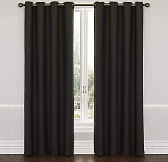 Eclipse Blackout Curtains for Bedroom - Wyndham 52 x 63 Insulated Darkening Single Panel Grommet Top Window Treatment Living Room, Jet Black