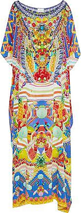 Camilla Camilla Woman Girl Next Door Crystal-embellished Printed Silk Kaftan Bright Blue Size ONESIZE