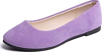 Vdual Ladies Slip On Flat Comfort Walking Ballerina Shoes Summer Loafer Flats UK 2.5-UK 8.5 Light Purple