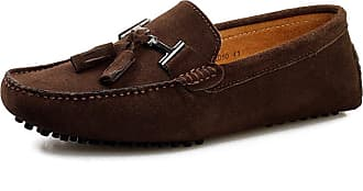 Jamron Mens Stylish Tassel Suede Moccasins Comfort Loafers Flats Driving Shoes Coffee 2080 UK9.5