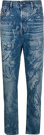 Diesel Calça jeans cenoura D-Vider cintura média - Azul