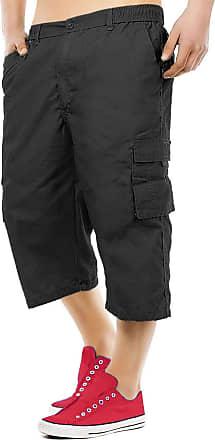 Generic New Mens 3/4 Shorts Elasticated Waist Cargo Combat Long Knee Length Cotton Pants[Black,XXL]