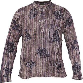 Gheri Mens Striped Stonewashed Symbols Full Sleeve Grandad Shirt Brown Large