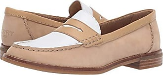 Sperry Top-Sider Womens Seaport Penny Tri Tone Loafer, Tan/White, 9.5