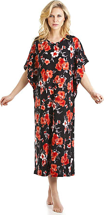 Camille Womens Full Length Floral Print Kaftans Small Red