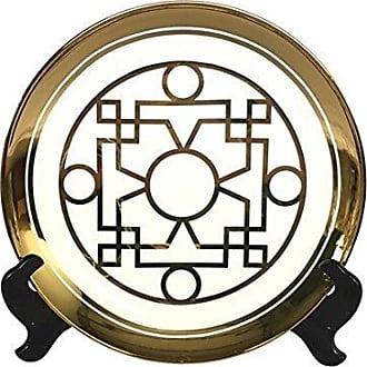 Sagebrook Home VC10469-05 Ceramic Decorative Plate, 14 x 14 x 2 ES, White/Gold