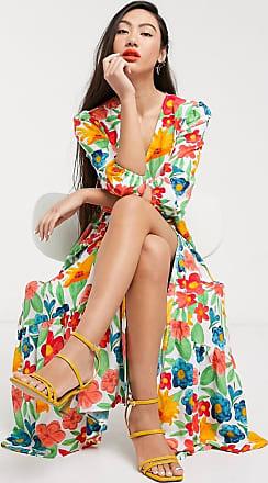 Glamorous Midaxikleid mit Wickeldesign vorne und Stufenrock in leuchtendem Vintage-Blumenmuster-Weiß