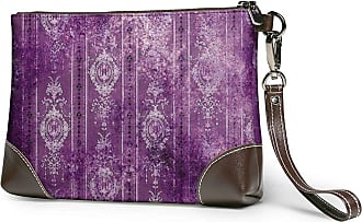 GLGFashion Womens Leather Wristlet Clutch Wallet Purple Pattern Storage Purse With Strap Zipper Pouch
