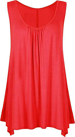 Crazy Girls Womens Gathered Round Neck Stretch Swing Long Vest Flared Hanky Top (UK24/26, Red)