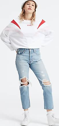 Levi's 501 Original Cropped Patched Jeans - Blue
