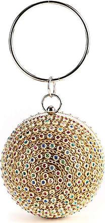 YYW Womans Round Ball Clutch Handbag Dazzling Full Rhinestone Tassels Ring Handle Purse Evening Bag