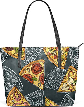 NaiiaN Leather Colorful Slice Pizza Seamless Pattern Purse Shopping Tote Bag for Women Girls Ladies Student Light Weight Strap Letter Handbags Shoulder Bags