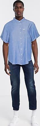 Wrangler Camicia di jeans chambray comoda lavaggio blu medio