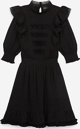 The Kooples Short black dress w/crew neck & dotted Swiss - WOMEN