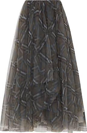 Brunello Cucinelli Plaid Tulle Midi Skirt - Gray