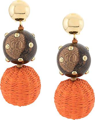 Oscar De La Renta beaded drop earrings - ORANGE